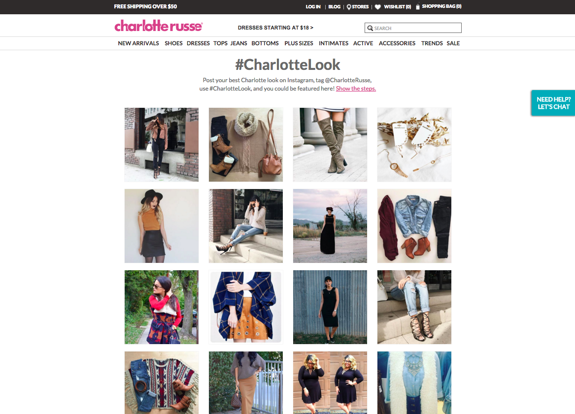 Charlotte Russe has had massive success on Social media